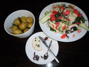Courgette and mushroom salad, homemade feta, spicy buttered potatoes