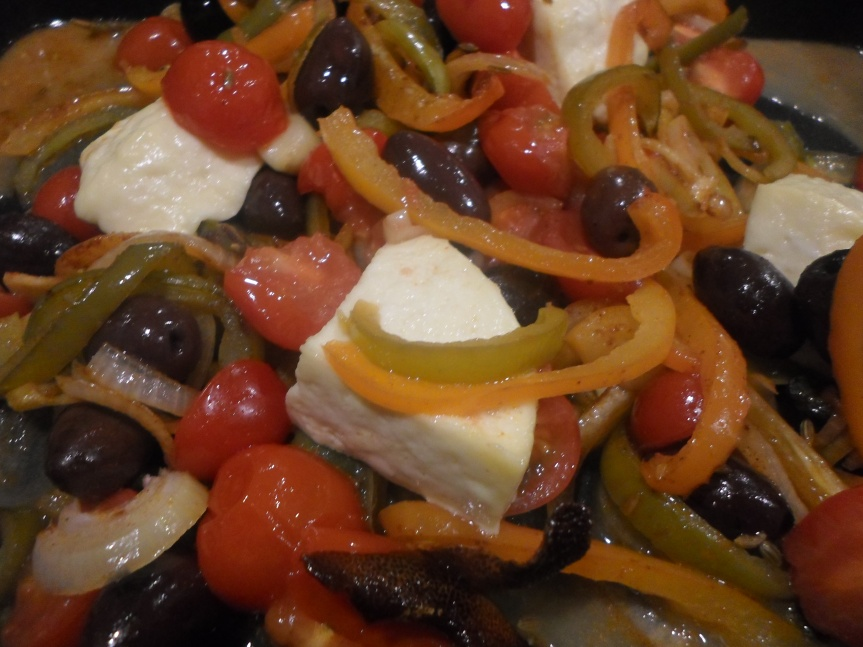 olives and oven-baked feta