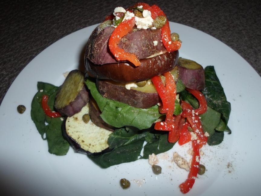 aubergine and sweet potato summerstack