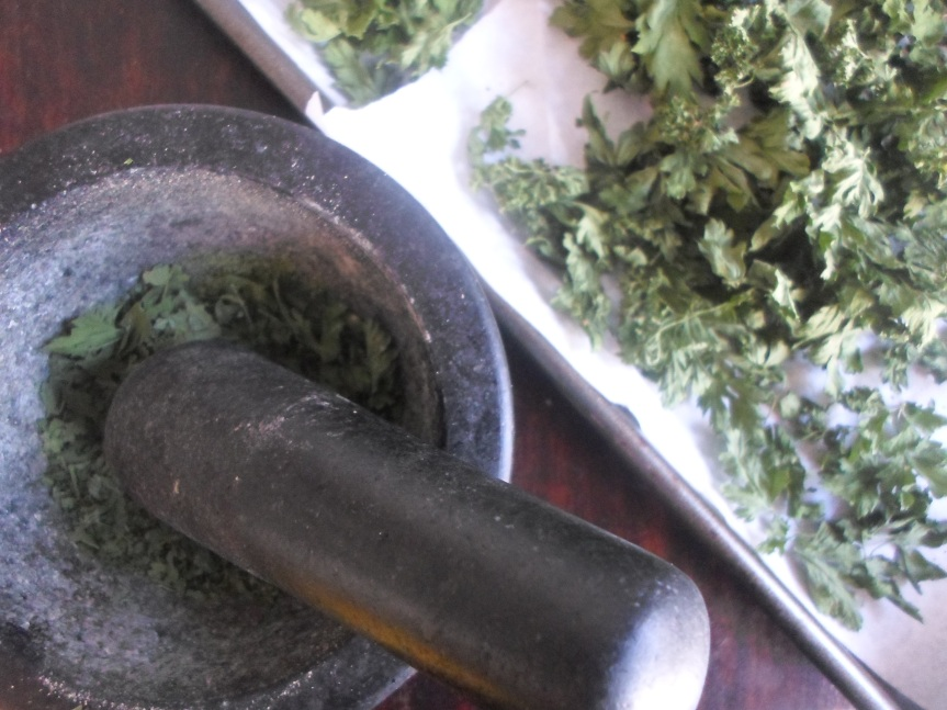 dried herbs; parsley, sage, rosemary and thyme