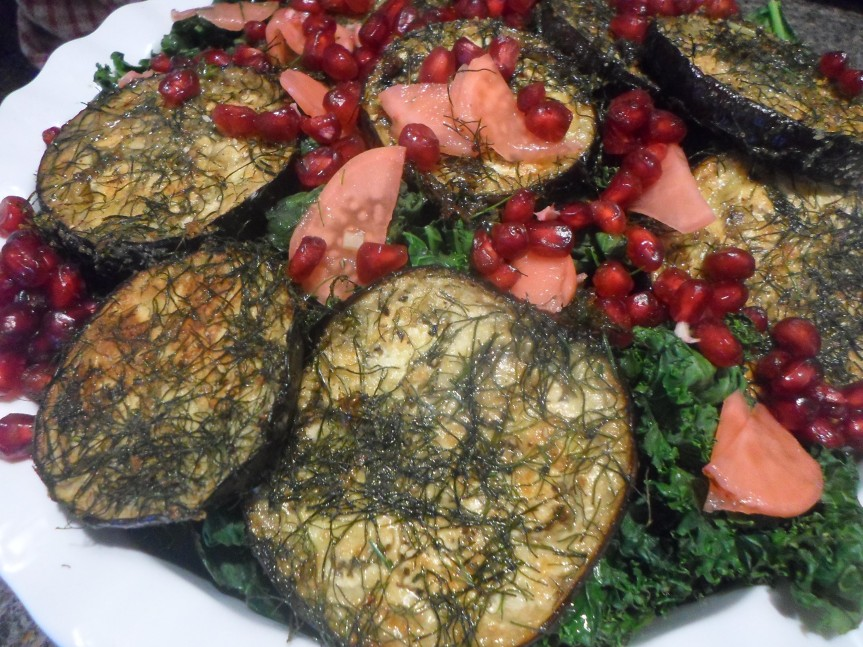 fennel-crusted aubergine salad with kale and pomegranate